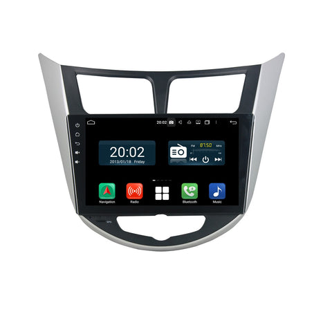 Android 10 Double Din 9 Inch Touchscreen Autoradio Headunit for Hyundai Verna/Solaris/Accent 2011 2012 2013 2014 2015 2016, Octa Core 1.5GB CPU 32GB Flash 4GB DDR3 RAM, Auto Radio GPS Navigation 4G WIFI Bluetooth USB DSP Carplay&Auto Steering Wheel Control. 2 Din Vehicle Touch Screen Multimedia Video Player System Head Unit.