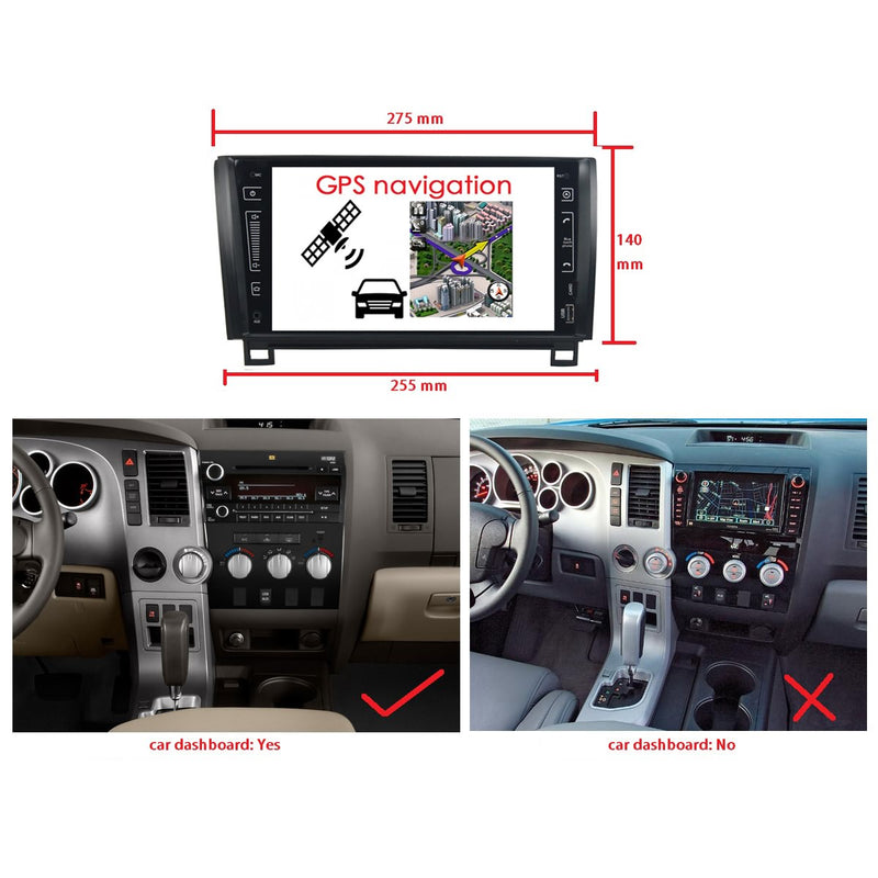 Android 10.0 2 Din 9 Inch 1024x600 Touchscreen Autoradio Headunit for Toyota Sequoia/Tundra 2010 2011 2012 2013, Octa Core 1.5GB CPU 32GB Flash 4GB DDR3 RAM, Auto Radio GPS Navigation 3G 4G WIFI Bluetooth USB DSP Carplay&Auto Steering Wheel Control. 2Din Vehicle Touch Screen Multimedia Video Player System Head Unit.