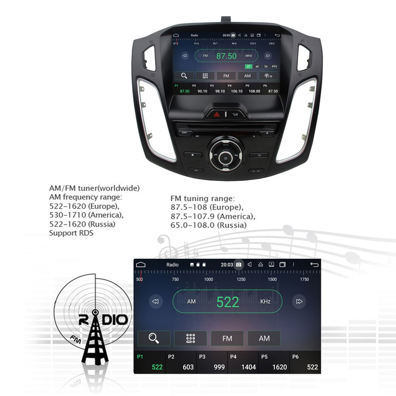 9 inch Android 10 OS Autoradio Stereo Navigation Headunit for Ford Focus 2012 2013 2014. Octa Core 1.5G CPU 32G Flash 4G DDR3 RAM. 1 Din Auto Radio GPS 3G 4G WIFI Bluetooth USB/SD DVD Player DSP Carplay Auto Steering Wheel Control OBDII. Plug and Play cables Single Din Vehicle Multimedia Player System Head Unit.