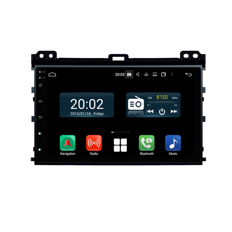 Android 10 Double Din 9 Inch 1024x600 Touchscreen Autoradio Headunit for Toyota Land Cruiser Prado 120(2003-2009), Octa Core 1.5GB CPU 32GB Flash 4GB DDR3 RAM, Auto Radio GPS Navigation 3G 4G WIFI Bluetooth USB MirrorLink Steering Wheel Control. 2 Din Vehicle Touch Screen Multimedia Video Player System Head Unit.