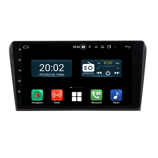 Android 10 2 Din 9 Inch 1024x600 Touchscreen Autoradio Headunit for Mazda3 2004 2005 2006 2007 2008 2009, Octa Core 1.5GB CPU 32GB Flash 4GB DDR3 RAM, Auto Radio GPS Navigation 3G 4G WIFI Bluetooth USB DSP Carplay&Auto Steering Wheel Control. 2Din Vehicle Touch Screen Multimedia Video Player System Head Unit.