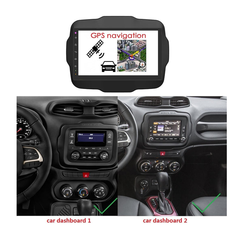 9 Inch Touchscreen Android 9.0 OS Car DSP Multimedia Player for Jeep Renegade(2016-2020), 4GB RAM+32GB ROM, Radio GPS Navigation Stereo Bluetooth 4G WIFI - foyotech