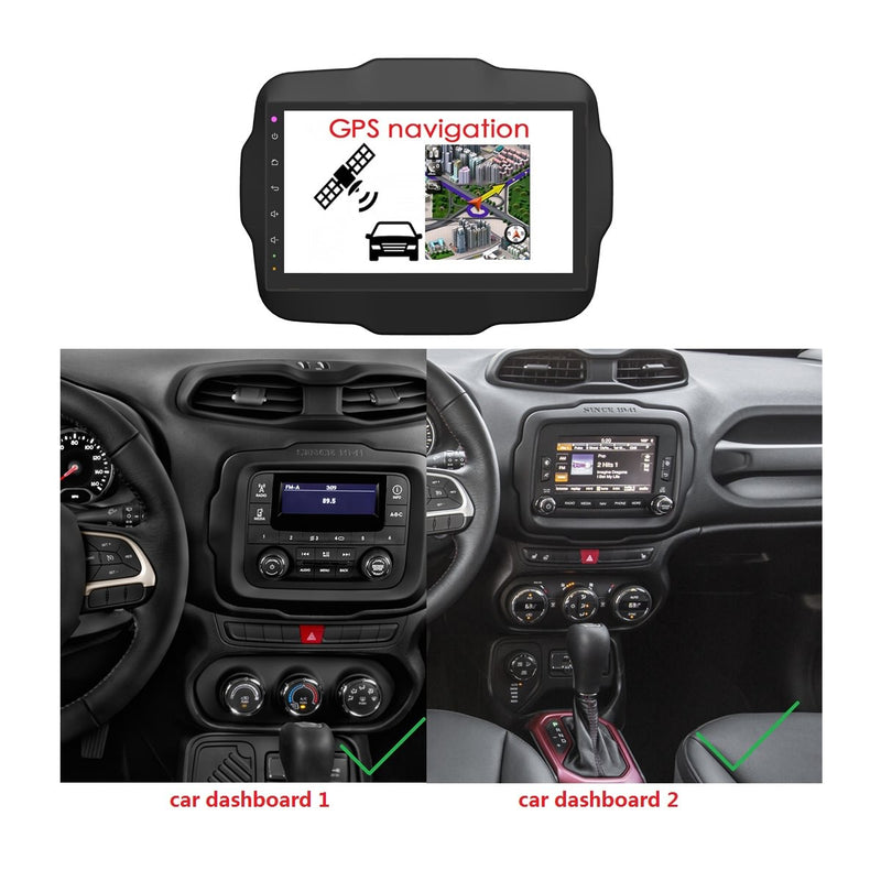 Android 10 1 Din 9 Inch 1024x600 Touchscreen Autoradio Headunit for Jeep Renegade 2016 2017 2018 2019 2020, Octa Core 1.5GB CPU 32GB Flash 4GB DDR3 RAM, Auto Radio GPS Navigation 3G 4G WIFI Bluetooth USB DSP Carplay&Auto Steering Wheel Control. 1Din Vehicle Touch Screen Multimedia Video Player System Head Unit.