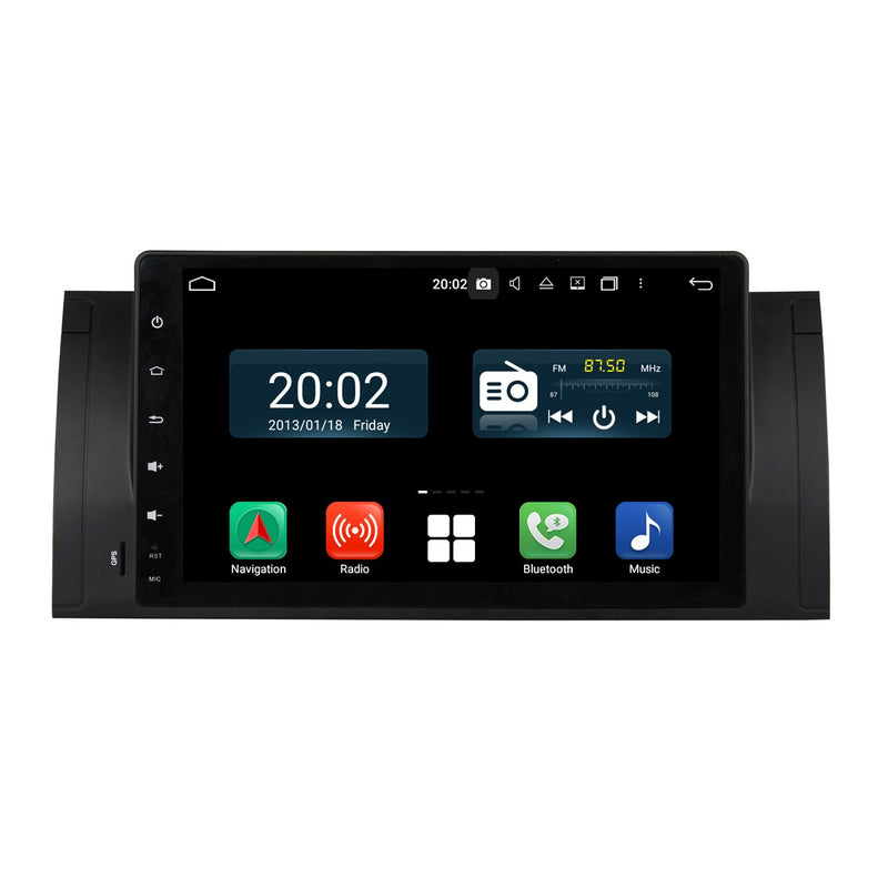 Android 10 Single Din 9 Inch 1024x600 Touchscreen Autoradio Headunit for BMW M5 E39(1995-2003)/X5 E53(2000-2007), 8 Core 1.5GB CPU 32GB Flash 4GB DDR3 RAM, Auto Radio GPS Navigation 3G 4G WIFI Bluetooth USB DSP Carplay&Auto Steering Wheel Control. 1 Din Vehicle Touch Screen Video Multimedia Video Player System Head Unit.
