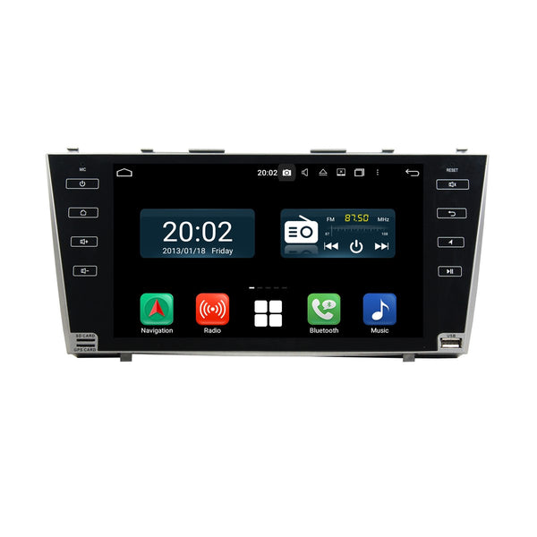 Android 10 2 Din 9 Inch 1024x600 Touchscreen Autoradio Headunit for Toyota Camry 2007 2008 2009 2010 2011, Octa Core 1.5GB CPU 32GB Flash 4GB DDR3 RAM, Auto Radio GPS Navigation 3G 4G WIFI Bluetooth USB DSP Carplay&Auto Steering Wheel Control. 2Din Vehicle Touch Screen Multimedia Video Player System Head Unit.