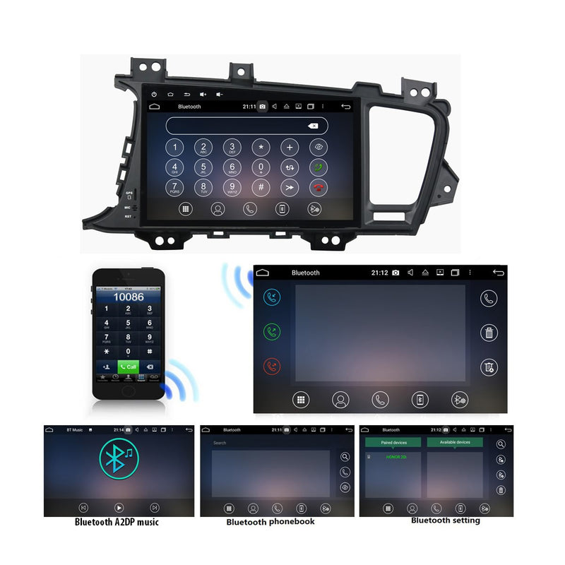 Android 10 Double Din 9 Inch Touchscreen Autoradio Headunit for Kia K5/Optima 2014 2015 2016 2017 2018, Octa Core 1.5GB CPU 32GB Flash 4GB DDR3 RAM, Auto Radio GPS Navigation 4G WIFI Bluetooth USB DSP Carplay&Auto Steering Wheel Control. 2Din Vehicle Touch Screen Multimedia Video Player System Head Unit.