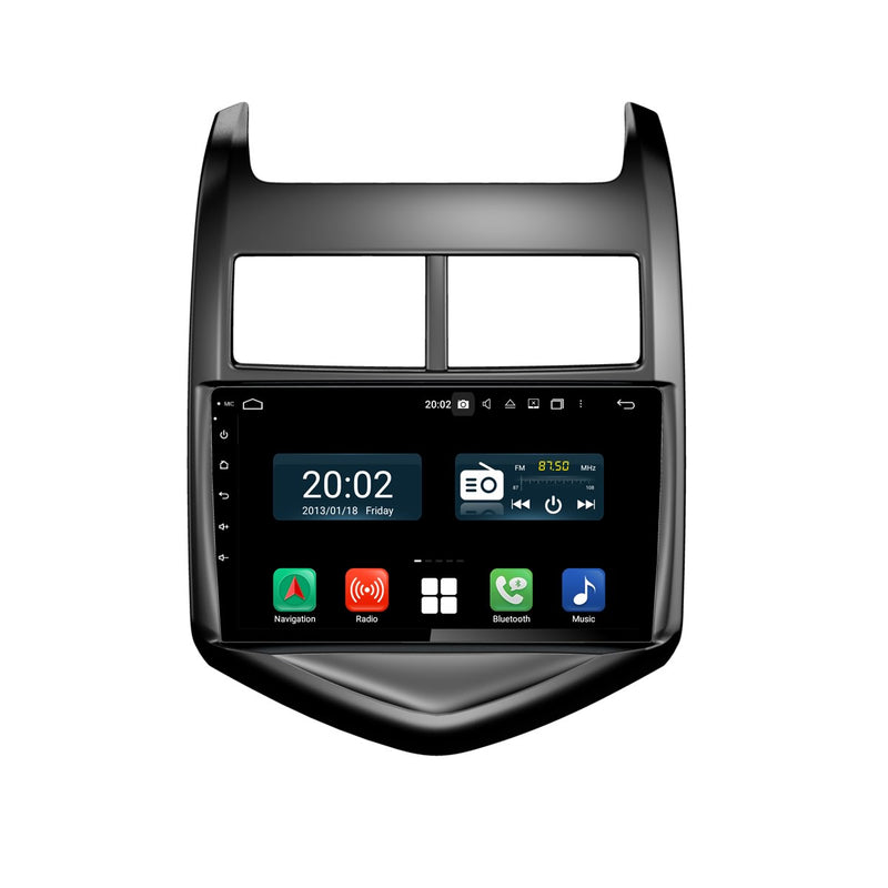 Android 10 2 Din 9 Inch 1024x600 Touchscreen Autoradio Headunit for Chevrolet Aveo 2011 2012 2013 2014 2015 2016, Octa Core 1.5GB CPU 32GB Flash 4GB DDR3 RAM, Auto Radio GPS Navigation 3G 4G WIFI Bluetooth USB DSP Carplay&Auto Steering Wheel Control. 2Din Vehicle Touch Screen Multimedia Video Player System Head Unit.