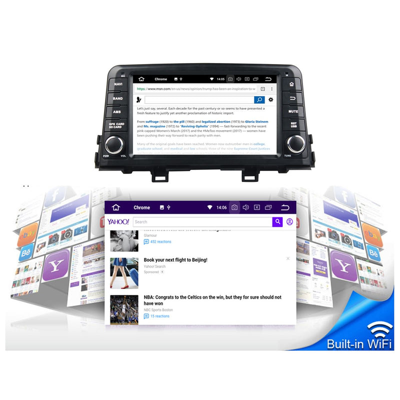 8 inch 1024x600 Touchscreen Android 10 OS Autoradio Stereo for Kia Morning/Picanto 2017 2018 2019 2020. Octa Core 1.5G CPU 32G Flash 3G 4G DDR3 RAM. 1 Din Auto Radio GPS Navigation 4G WIFI Bluetooth USB/SD DSP Carplay Auto Steering Wheel Control OBDII. Plug and Play Single Din Vehicle Multimedia Player System Head Unit.