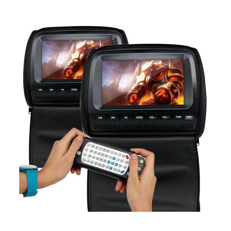 2x 9 inch Car Headrest DVD Player, Remote control/USB/SD/Wireless Game, 800x480 Digital LCD screen Headrest Video Player Monitor - foyotech