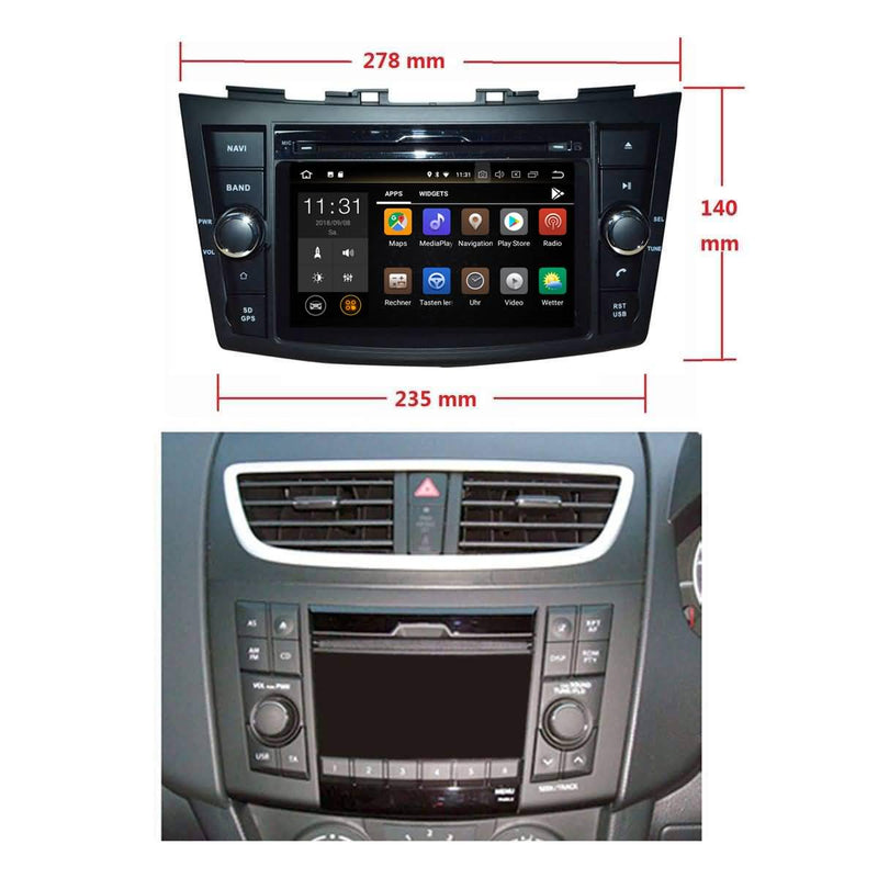7 inch Touchscreen Android 8.0 OS Car DVD Player Headunit for Suzuki Swift(2011-2017), 8 Core 1.5G CPU 4G DDR3 RAM 32G Flash, Auto GPS Navigation Radio Bluetooth 4G WIFI OBDII MirrorLink - foyotech