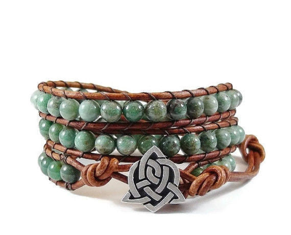 African Jade Leather Wrap Bracelet, Beaded Bracelet, Wrap Bracelet, Celtic Style