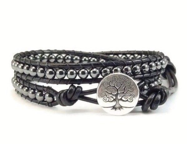 Wrap Bracelet, Hematite Gemstones, Tree of Life, Beaded Wrap Bracelet