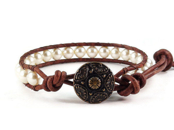 Pearl Leather Bracelet, Beaded Bracelet