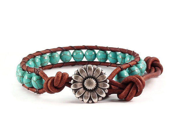 Turquoise Magnesite Leather Bracelet, Beaded Jewelry, Blue