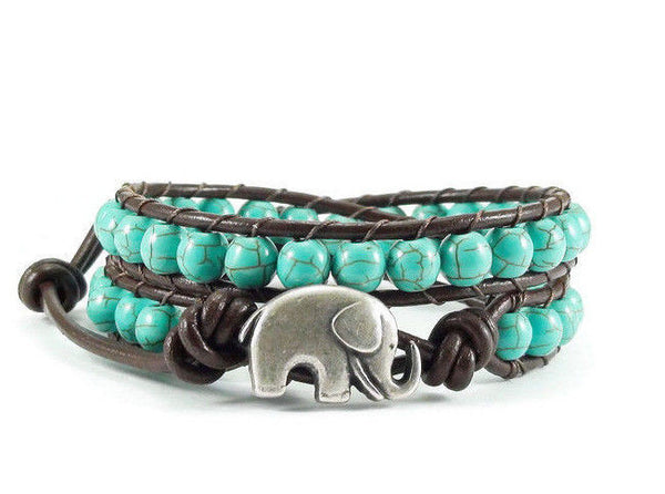 Elephant Leather Wrap Bracelet, Beaded Bracelet, Wrap Bracelet