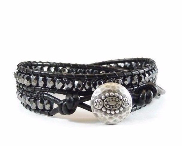 Black Leather Wrap Bracelet, Beaded Wrap Bracelet, Wrap