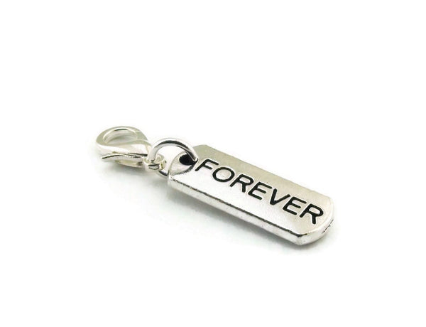 Forever Purse Charm Zipper Pull Inspirational Word Charm