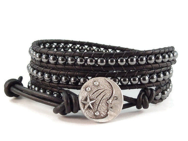 Sun and Moon Leather Wrap Bracelet, Beaded Bracelet, Hematite Bracelet, Black