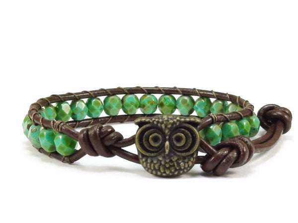 Owl Leather Bracelet, Green Beaded Bracelet