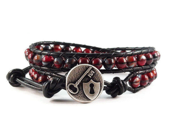 Leather Wrap Bracelet Red and Black