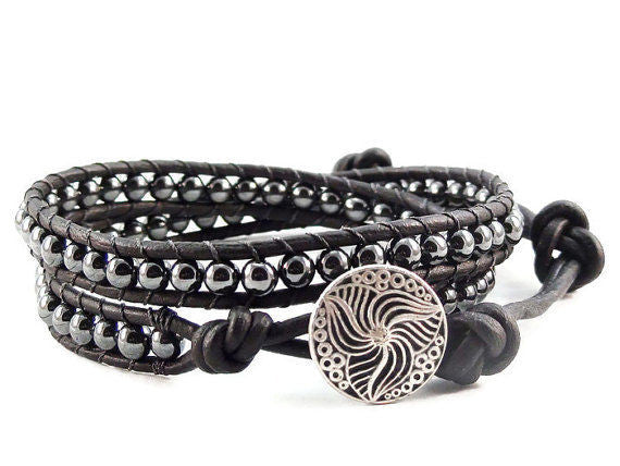 Hematite Wrap Bracelet, Leather Wrap Bracelet, Beaded Wrap Bracelet
