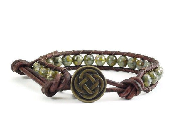 Celtic Style Leather Bracelet, Beaded Bracelet