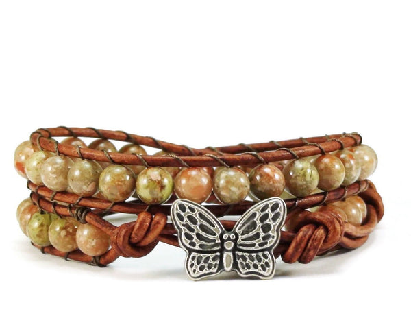Leather Wrap Bracelet Autumn Jasper Gemstones Butterfly Clasp