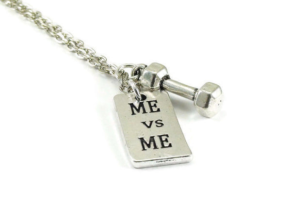 Me vs Me Necklace, Inspirational, Dumbbell Necklace