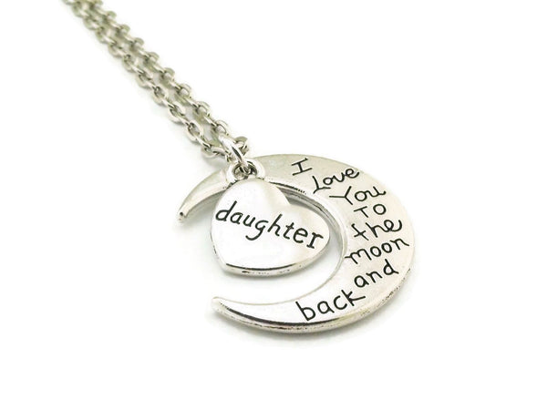 I Love You to the Moon and Back Daughter Necklace
