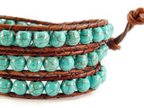 Leather Wrap Bracelet, Beaded Wrap Bracelet, Triple Wrap