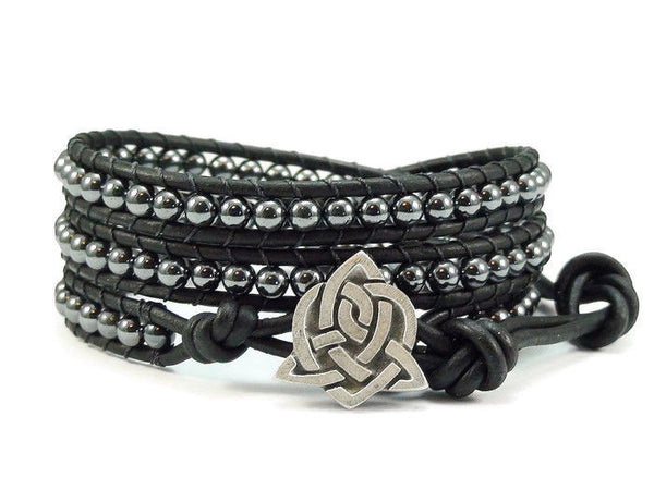 Celtic Style Leather Wrap Bracelet, Hematite Wrap Bracelet