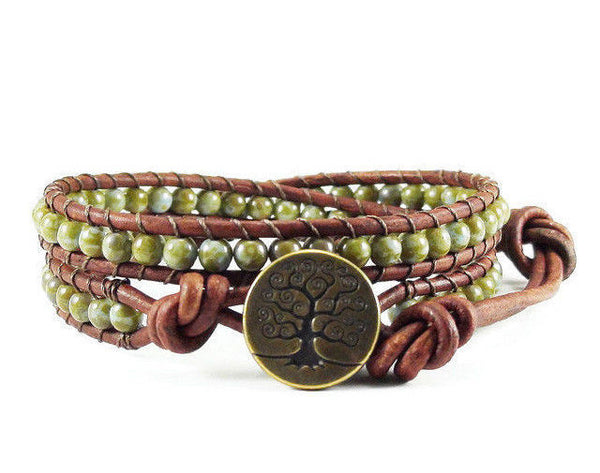 Tree of Life Leather Wrap Bracelet, Beaded Wrap, Green Bracelet
