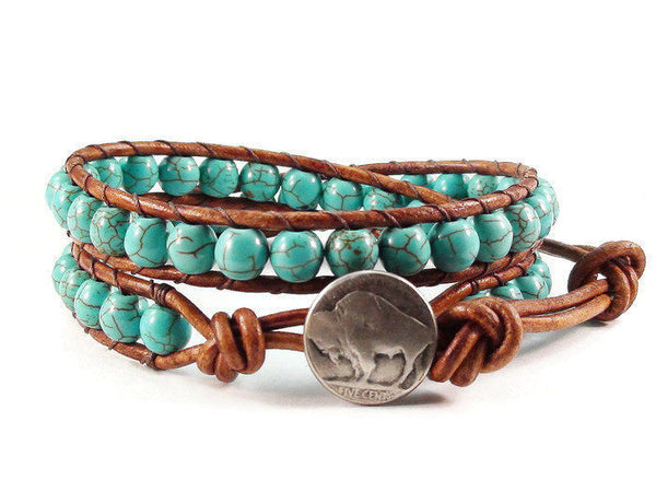 Turquoise Magnesite Leather Wrap Bracelet, Beaded Bracelet