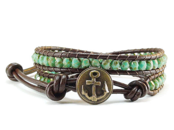 Beaded Leather Wrap Bracelet Green Picasso Czech Glass Anchor Handmade