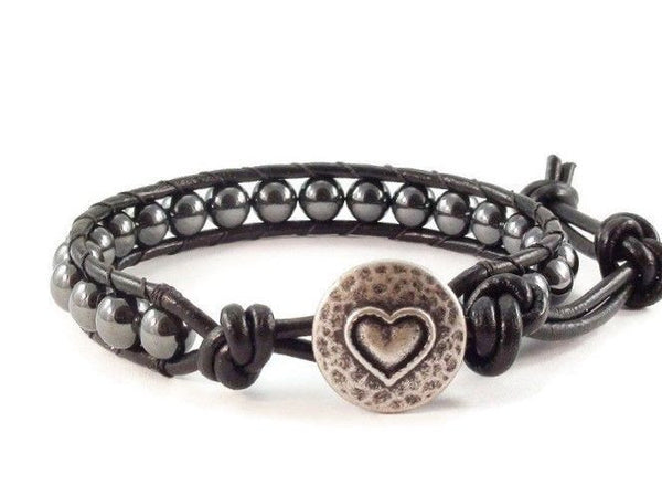 Heart Leather Bracelet, Black Bracelet, Hematite