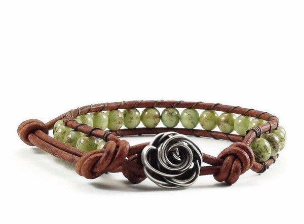 Leather Bracelet, Green Bracelet, Beaded Bracelet