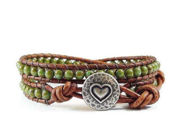 Heart Leather Wrap Bracelet, Green Bracelet, Wrap Bracelet, Beaded Bracelet