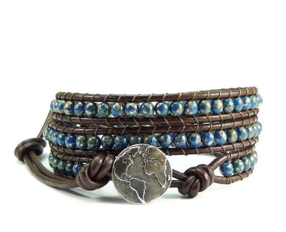 Triple Leather Wrap Bracelet, Beaded Bracelet, Wrap Bracelet