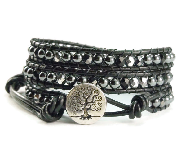 Tree of Life Leather Wrap Bracelet, Black Beaded Bracelet, Wrap