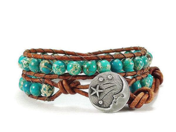 Imperial Jasper Leather Wrap Bracelet, Blue Bracelet, Moon and Stars, Beaded Wrap