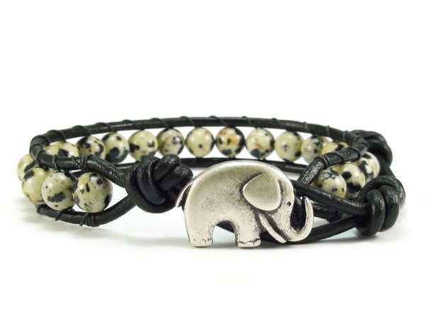 Dalmatian Jasper Leather Bracelet, Elephant Bracelet, Black