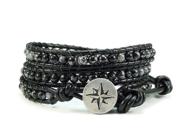 Snowflake Obsidian Triple Leather Wrap Bracelet, Beaded Wrap Bracelet