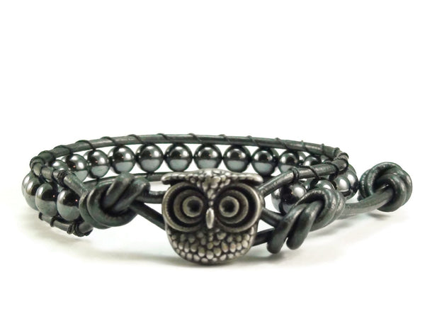 Leather Wrap Bracelet, Hematite Gemstones, Beaded Wrap Bracelet, Owl Bracelet, Leather Bracelet