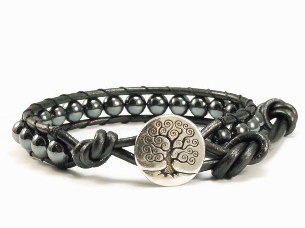 Leather Wrap Bracelet Hematite Gemstones, Beaded Wrap Bracelet, Tree of Life Bracelet