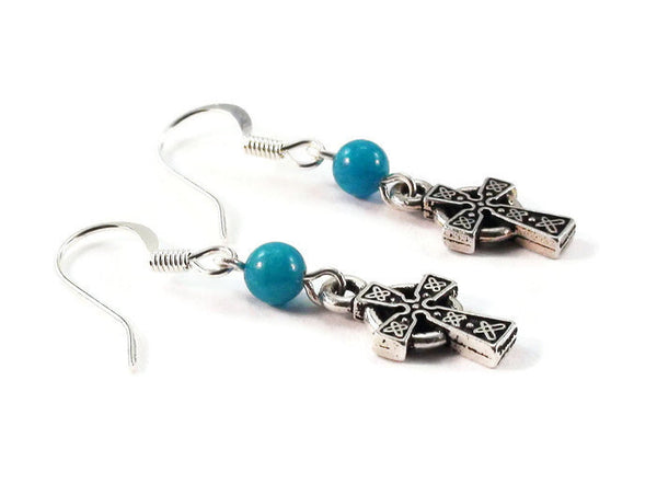 Blue Celtic Cross Earrings