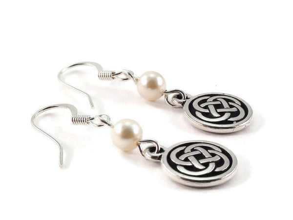 Celtic Knot Pearl Earrings, Dangle Earrings