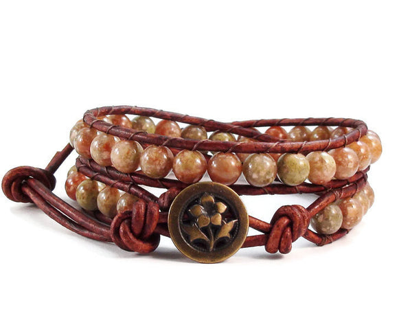 Leather Wrap Bracelet Autumn Jasper Gemstones Petunia Button Beaded Double Wrap Boho