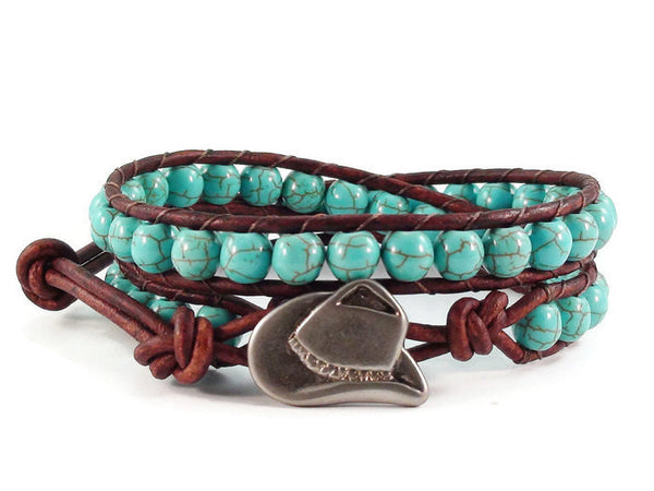 Leather Wrap Bracelet Turquoise Blue Magnesite Cowboy Hat Beaded Southwestern Style Jewelry