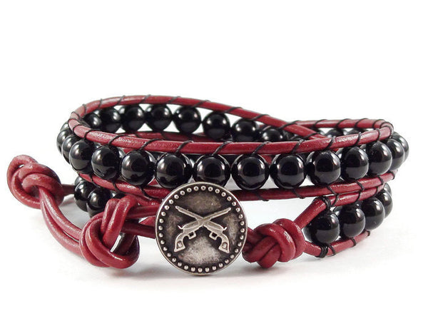Leather Wrap Bracelet Black Obsidion Gemstones Double Pistols Button Beaded Jewelry