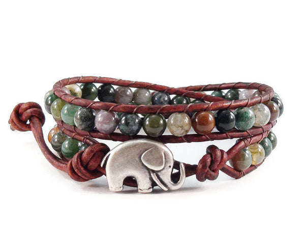 Leather Wrap Bracelet Fancy Jasper Gemstones Elephant Button Beaded Jewelry